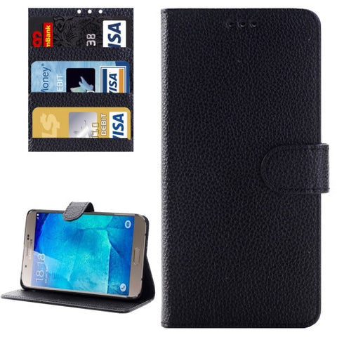 Litchi Texture Horizontal Flip Solid Color Leather Case with Wallet & Card Slot & Holder for Samsung Galaxy A8 / A800(Black Samsung Cases - MEGA Discount Online Store Ghana