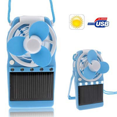 Buy Online  Solar Powered Portable Fan with 5 LED Lights / Mobile Charger (450mAh), Blue Power Banks & Solar - MEGA Discount Online Store Ghana