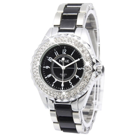 Black Dial Men Diamond Quartz Stainless Steel Watch / Couple Watch Watches - MEGA Discount Online Store Ghana