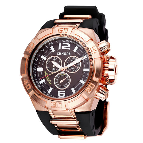 Buy Online  SHHORS Big Dial 3 Small Decoration Dial Fashion Men Quartz Watch with Silicone Band (Black + Rose Gold) Watches - MEGA Discount Online Store Ghana