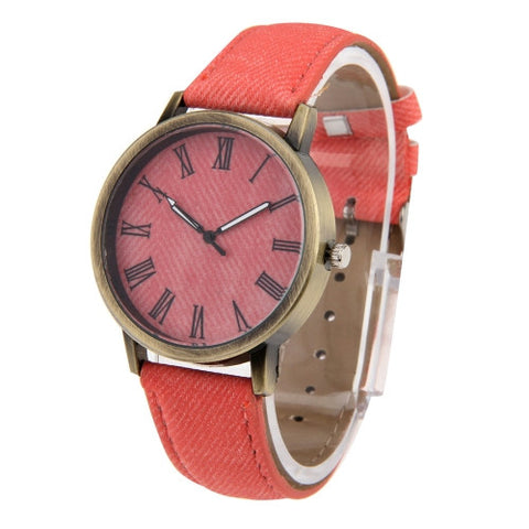 Buy Online  Denim Texture Style Round Dial Retro Digital Display Women & Men Quartz Watch with PU Leather Band(Pink) Watches - MEGA Discount Online Store Ghana