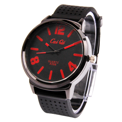 Buy Online  Classic Round Style Quartz Wrist Watch with Silicone Band (Black + Red) Watches - MEGA Discount Online Store Ghana