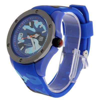 Disruptive Pattern Sport Watch with Silicone Watchband (Blue) Watches - MEGA Discount Online Store Ghana