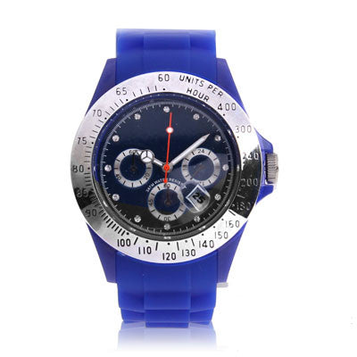 Diamond Silver Dial Silicone Sport Style Waterproof Quartz Watch with Date Display (Blue) Watches - MEGA Discount Online Store Ghana