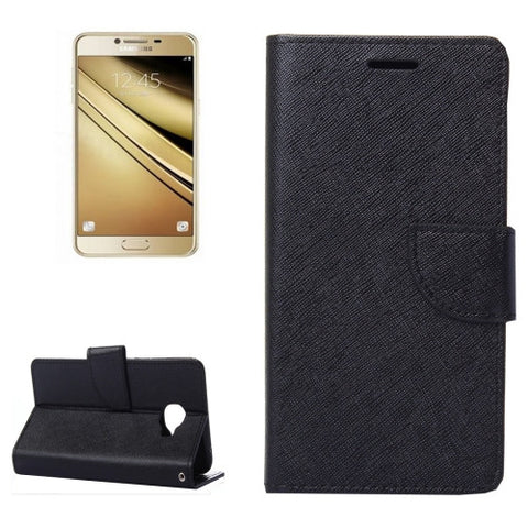 Buy Online  Samsung Galaxy C5 Cross Texture Leather Case with Holder & Card Slots & Wallet(Black) Samsung Cases - MEGA Discount Online Store Ghana