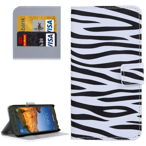 premium selection 523f7 db9c2 Samsung Galaxy S7 Active Zebra Pattern Leather Case with Holder & Card  Slots & Wallet