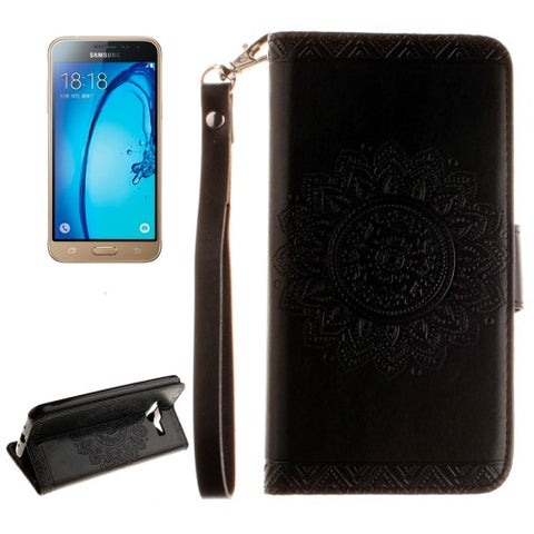 Buy Online  Samsung Galaxy J3 (2016) / J310 Embossed Floral Pattern Horizontal Flip Leather Case with Card Slots & Holder & Lanyard(Black) Samsung Cases - MEGA Discount Online Store Ghana