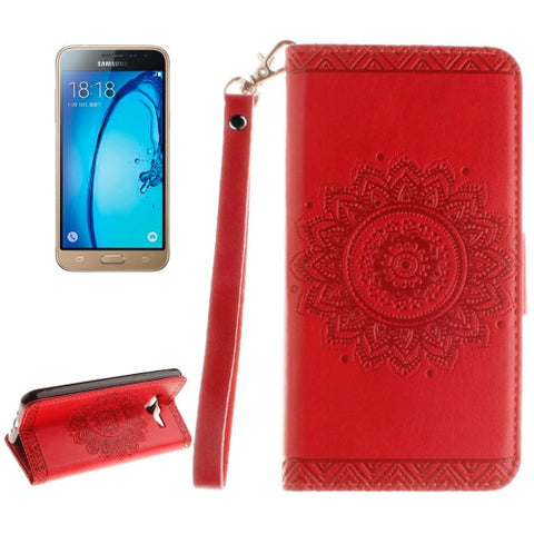 For Samsung Galaxy J3 (2016) / J310 Embossed Floral Pattern Horizontal Flip Leather Case with Card Slots & Holder & Lanyard(Red) Samsung Cases - MEGA Discount Online Store Ghana