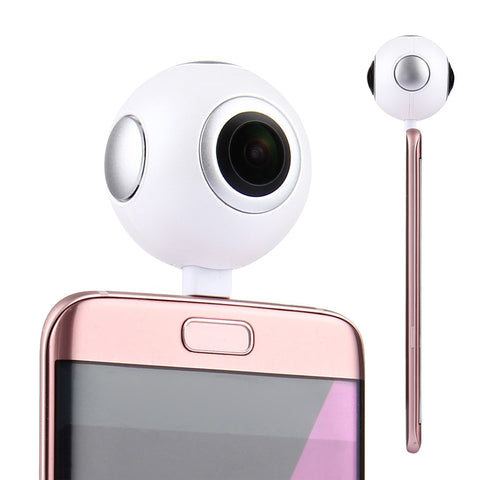 Buy Online  720 Degree 3.0MP Panoramic VR Camera Dual Spherical Fisheye Lens with Micro USB to Micro USB Adapter & Micro USB to USB Type-C Adapter for Samsung, Huawei, Xiaomi, LG etc. Android Phones Camera - MEGA Discount Online Store Ghana