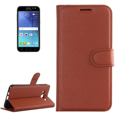 Buy Online  Samsung Galaxy J2 (2016) / J200F / J200G Litchi Texture Horizontal Flip Leather Case with Holder & Card Slots & Wallet(Brown) Samsung Cases - MEGA Discount Online Store Ghana