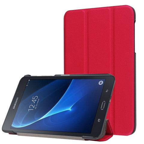Custer Texture Horizontal Flip Solid Color Leather Case with Three-folding Holder for Samsung Galaxy Tab A 7.0 2016 / T280N(Red) Samsung Cases - MEGA Discount Online Store Ghana