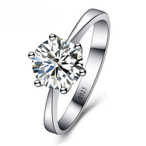 925 Sterling Silver Woman Crystal Wedding Engagemen Ring Shinning Cubic Zirconia Fine Jewelry