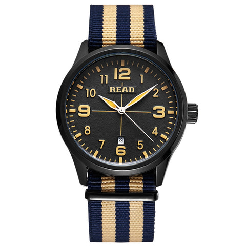 Buy Online  READ 5258 Fashionable 3ATM Waterproof Quartz Wrist Watch with Stripes Nylon Band & Luminous Display & Calendar Function for Men(Black Window Blue Khaki Strap) Watches - MEGA Discount Online Store Ghana