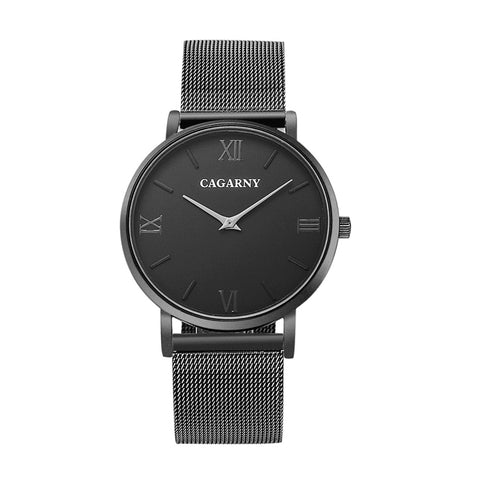CAGARNY 6812 Concise Style Ultra Thin Quartz Wrist Watch with Stainless Steel Band(Black) Watches - MEGA Discount Online Store Ghana