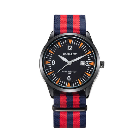 Buy Online  CAGARNY 6859 Concise Style Ultra Thin Waterproof Quartz Wrist Watch with Striped Nylon Band Watches - MEGA Discount Online Store Ghana
