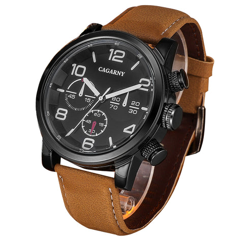 Buy Online  CAGARNY 6829 Fashionable Quartz Student Sport Wrist Watch with Leather Band & 24-hour Indication & Calendar Function for Men(Brown Band White Scale) Watches - MEGA Discount Online Store Ghana