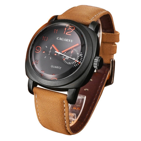 Buy Online  CAGARNY 6833 Fashionable Five Needles Quartz Sport Wrist Watch with Leather Band for Men(Red Scale Watches - MEGA Discount Online Store Ghana