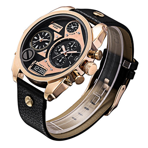 Buy Online  CAGARNY 6822 Fashionable Concise Style Large Dial Dual Clock Rose Gold Case Quartz Movement Wrist Watch with Leather Band & GMT Time & Calendar Functions for Men(Black Window) Watches - MEGA Discount Online Store Ghana