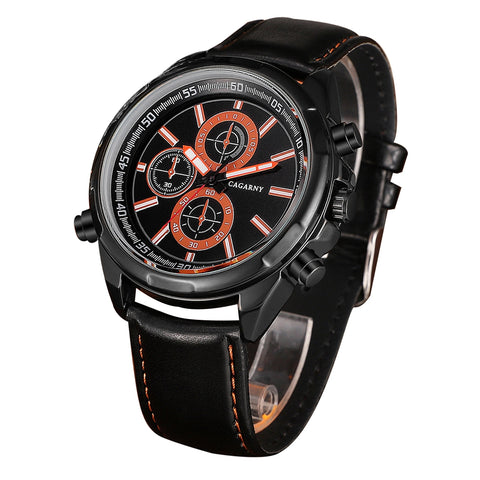 Buy Online  CAGARNY 6825 Fashionable Quartz Business Sport Wrist Watch with Leather Band & 24-hour Indication Function for Men(Rrange Needle) Watches - MEGA Discount Online Store Ghana