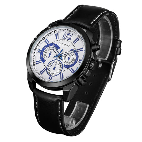 Buy Online  CAGARNY 6826 Fashionable Quartz Business Sport Wrist Watch with Leather Band & 24-hour Indication & Calendar Function for Men(White Window Blue Scale) Watches - MEGA Discount Online Store Ghana