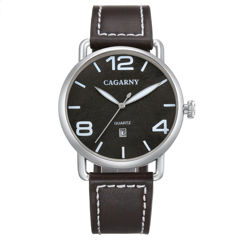 CAGARNY 6815 Living Waterproof Round Dial Quartz Movement Alloy Case Fashion Watch Quartz Watches with Leather Band(Black) Watches - MEGA Discount Online Store Ghana