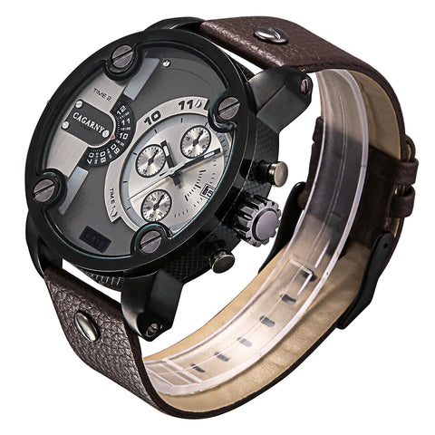 CAGARNY 6818 Fashionable DZ Style Large Dial Dual Clock Quartz Movement Sport Wrist Watch with Leather Band & Calendar Function for Men(Brown Band Black Case) Watches - MEGA Discount Online Store Ghana