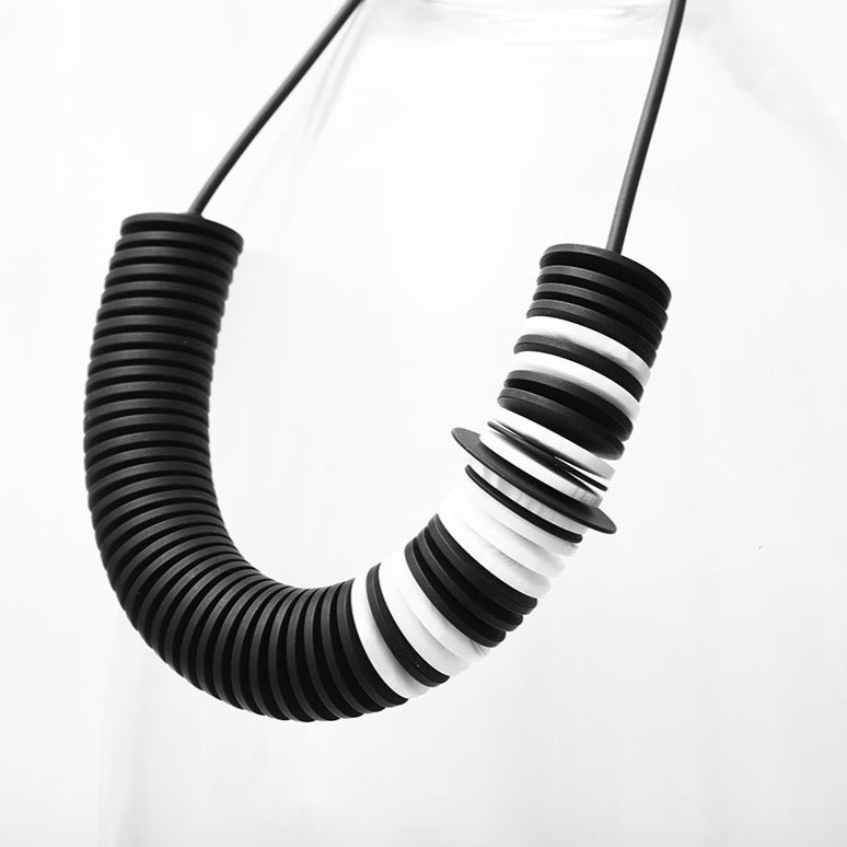Scroll Necklace Black and White