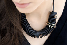Load image into Gallery viewer, Scroll Necklace Black and Gold