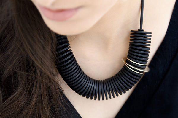 Scroll Necklace Black and Gold