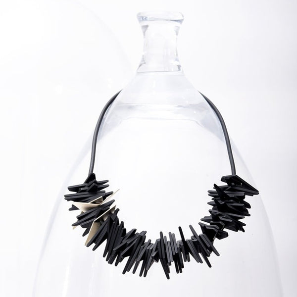 Helix Necklace Black and Gold