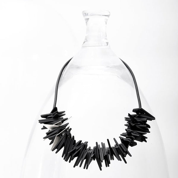 Helix Necklace Black and Silver