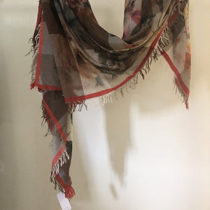 Floral Orange Brown Scarf