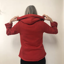 Load image into Gallery viewer, Holly Hooded Cardigan Red Cotton Terry