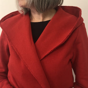 Holly Hooded Cardigan Red Cotton Terry