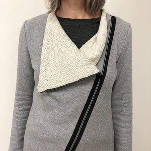 Yumi Sweater light grey cotton terry