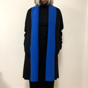 Ewa Cardigan Long Black Blue wool/fleece