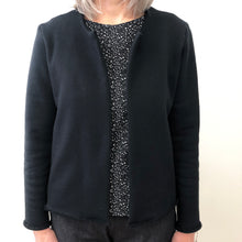 Load image into Gallery viewer, Carlita cardigan black cotton terry
