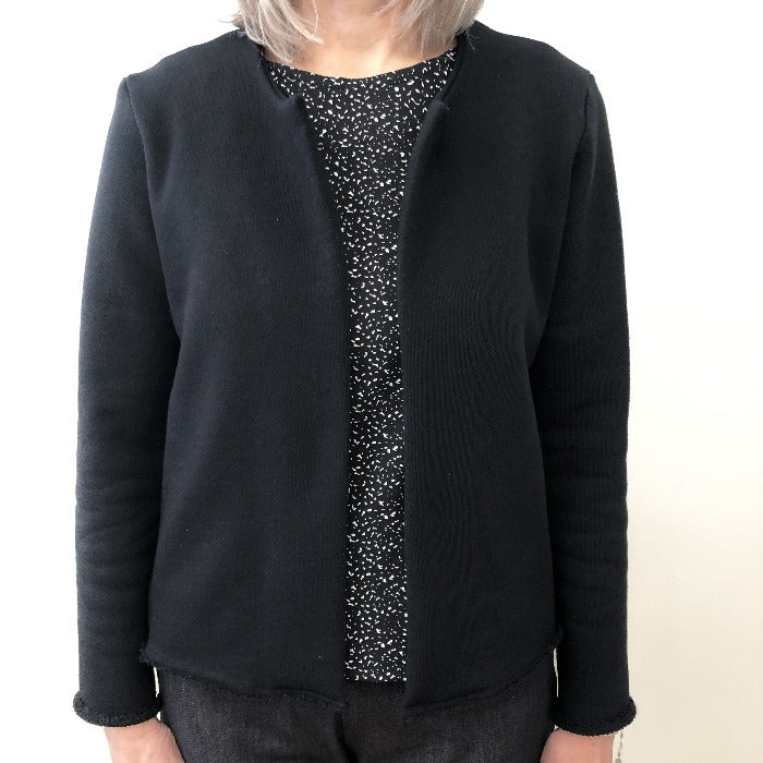 Carlita cardigan black cotton terry