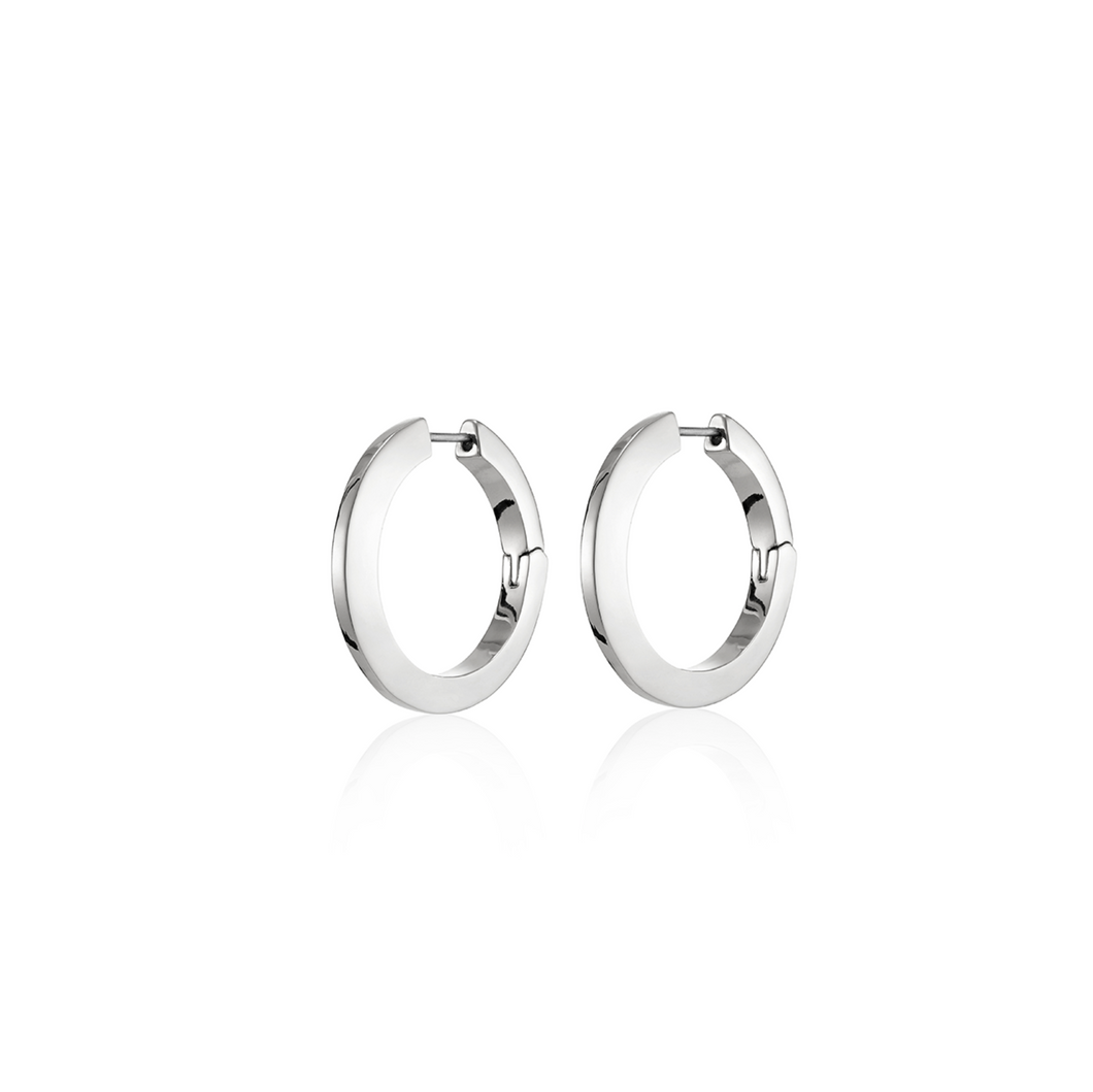 Toni Hinged Hoops Silver Earrings