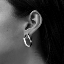 Load image into Gallery viewer, Toni Hinged Hoops Silver Earrings