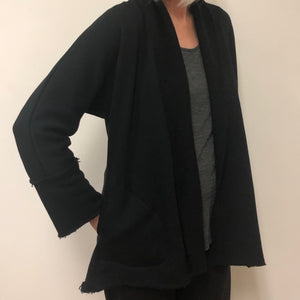 Ewa Cardigan Black Cotton Terry