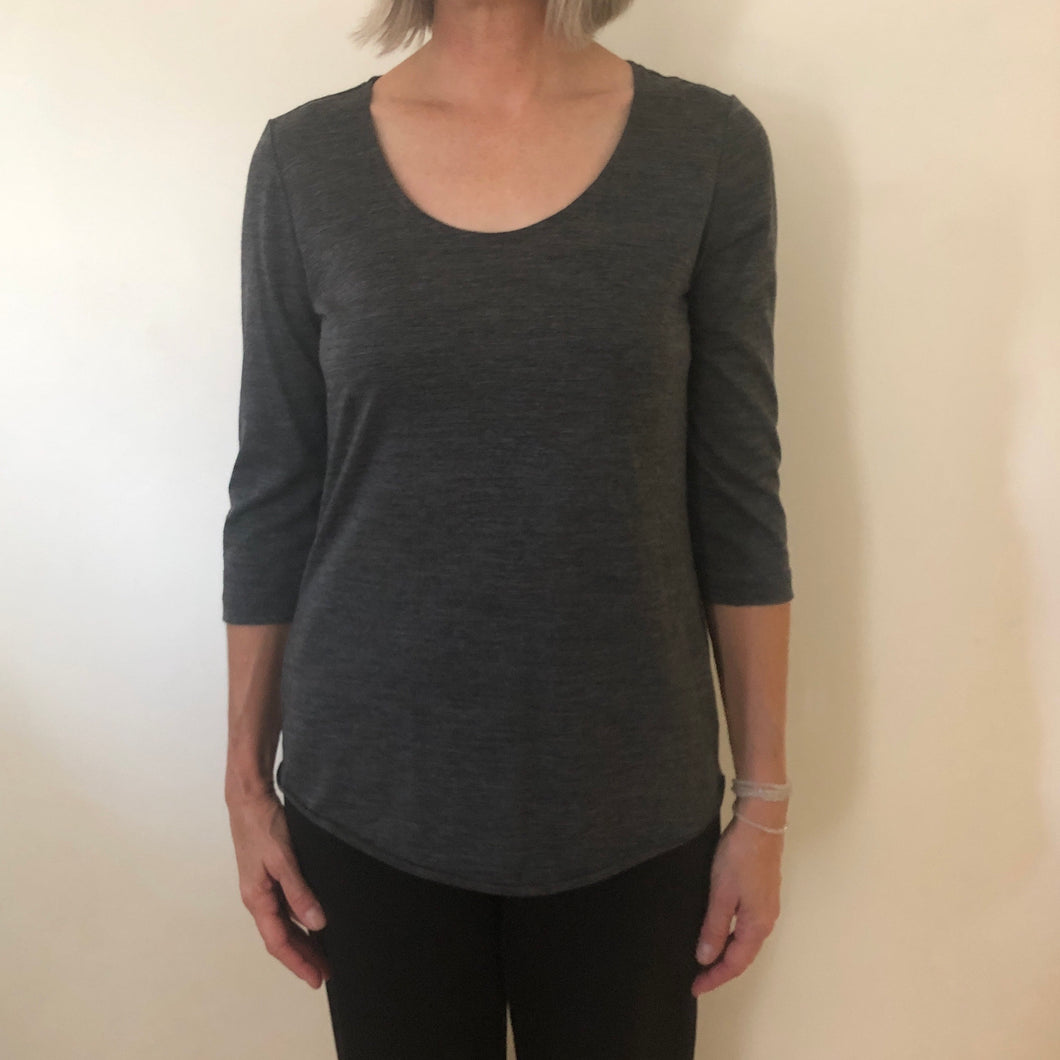 Dominique Tee Charcoal Merino