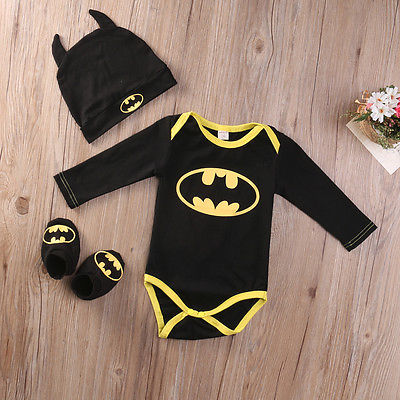 2016 Fashion Newborn Baby Boy Clothes Batman Cotton Romper+Shoes+Hat 3Pcs Outfits Set Bebes Clothing Set