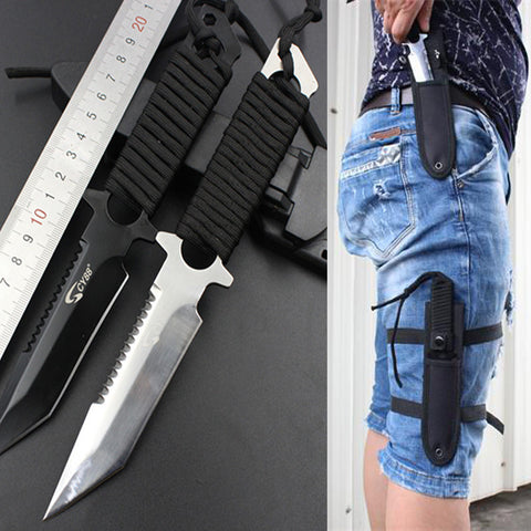 Stainless Steel Survival Knife Faca Navajas Leggings Diving Straight Knife Outdoor Camping Pocket Knife Tactical Knife