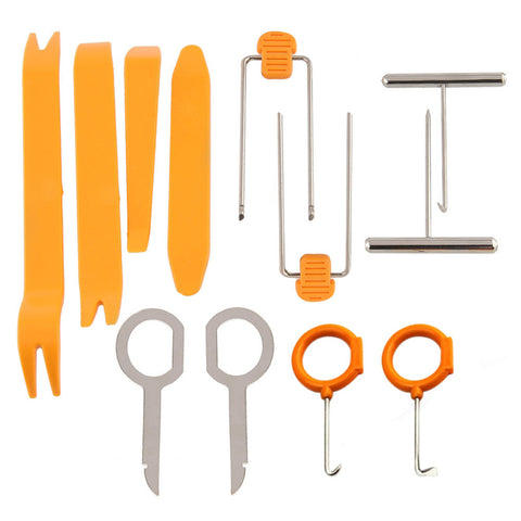 12pcs/set Professional Vehicle Dash Trim Tool Car Door Panel Audio Dismantle Remove Install Pry Kit Refit Set Repairing Tools