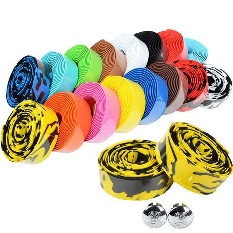 Road Bike Bicycle Handlebar tape Camouflage Cycling Handle Belt Cork Wrap with Bar Plugs  17 Colors FZE001