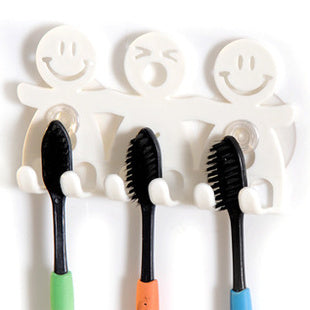 BornIsKing Bathroom Sets Cartoon Sucker Suction Hooks 5 Position Toothbrush Holder Smiling Face Toothbrush Holder Stand