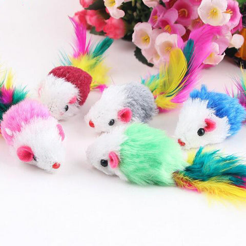 10Pcs Funny  Soft Fleece False Mouse Cat Toys Colorful Feather Playing Kitten Toy Random Color