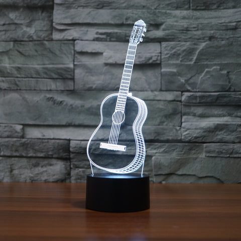 Creative 3D Visual Ukulele guitar Model Illusion Lamp LED 7 Color changing Novelty Bedroom Night Light Music Home decor IY803358