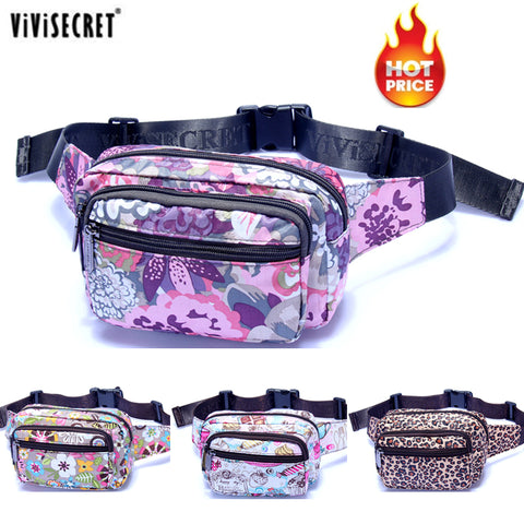 New Designer Waterproof Nylon Women Floral Waist Bum Camera Belt Bag Fanny Pack Hip Purse Money Cell Phone Pouch Christmas Gift